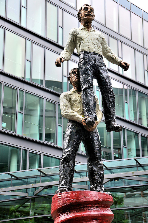 Two Men Sculpture by Stephan Balkenhol in Mainz, Germany <br />