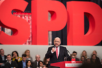 19 MAR 2017, BERLIN/GERMANY:<br /> Martin Schulz, SPD, haelt seine Rede vor seiner Wahl zum SPD Parteivorsitzenden und SPD Spitzenkandidat der Bundestagswahl, a.o. Bundesparteitag, Arena Berlin<br /> IMAGE: 20170319-01-025<br /> KEYWORDS: party congress, social democratic party, candidate, speech