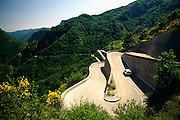 France, Provence, Alpes Maritimes, Hair pin turns in road, elevated view