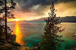 """""""Sunset at Lake Tahoe 42"""" - Photograph of a smokey sunset at Lake Tahoe, just north of Sand Harbor."""