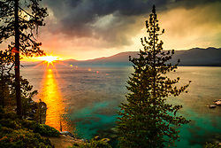 """Sunset at Lake Tahoe 42"" - Photograph of a smokey sunset at Lake Tahoe, just north of Sand Harbor."