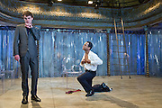 19/10/2011. London's last remaining music hall, Wilton's, presents a new production of 'Britannicus', Racine's study of Rome under the tyranny of Nero's rule. Directed by Irina Brown. Picture shows Jude Akuwudike as Burrhus & Matthew Needham as Nero. Photo credit : Tony Nandi/LNP