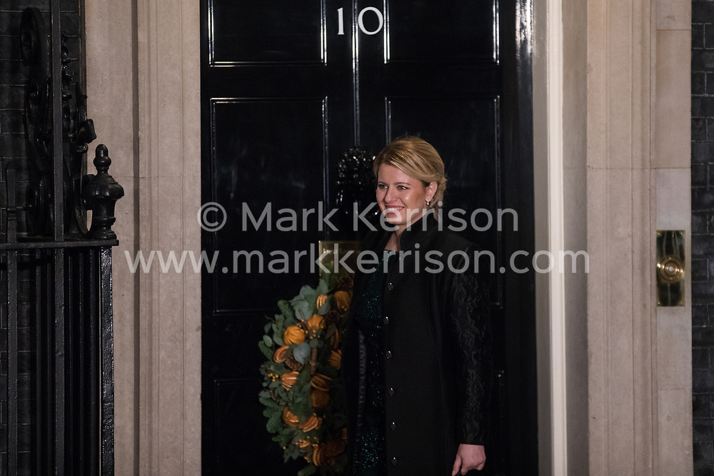 London, UK. 3 December, 2019. Zuzana Čaputová, President of Slovakia, arrives for a reception for NATO leaders at 10 Downing Street on the eve of the military alliance's 70th anniversary summit at a luxury hotel near Watford.