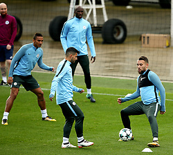 Sergio Aguero and Nicolas Otamendi of Manchester City train - Mandatory by-line: Matt McNulty/JMP - 12/09/2017 - FOOTBALL - City Football Academy - Manchester, England - Feyenoord v Manchester City - Training Session - UEFA Champions League - Group F
