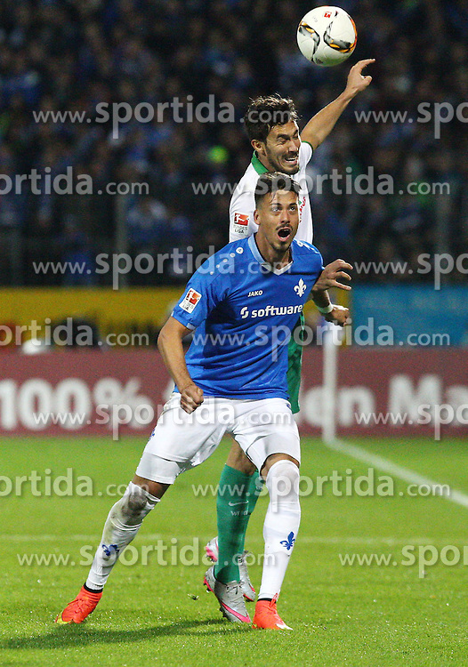 22.09.2015, Merck Stadion am Boellenfalltor, Darmstadt, GER, 1. FBL, SV Darmstadt 98 vs SV Werder Bremen, 6. Runde, im Bild Sandro Wagner (SV Darmstadt 98) im Zweikampf mit Santiago Garcia (SV Werder Bremen) // during the German Bundesliga 6th round match between SV Darmstadt 98 and SV Werder Bremen at the Merck Stadion am Boellenfalltor in Darmstadt, Germany on 2015/09/22. EXPA Pictures &copy; 2015, PhotoCredit: EXPA/ Eibner-Pressefoto/ Bermel<br /> <br /> *****ATTENTION - OUT of GER*****