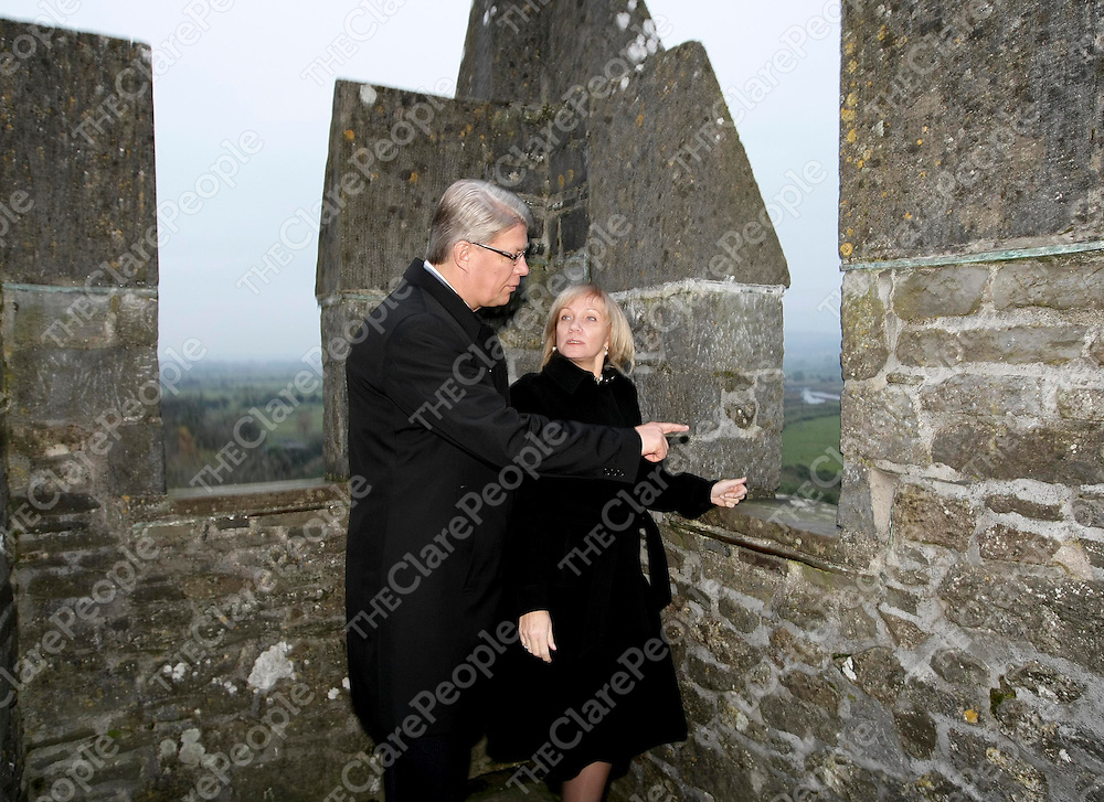 HE Mr Valdis Zatlers, the President of Latvia, and his wife, Mrs Lilita Zatlers, on the battlements during a visit to Bunratty Castle and Folk Park in Co Clare.Pic Arthur Ellis/Press22.
