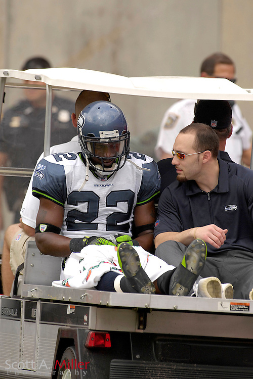 Dec. 31, 2006; Tampa, FL, USA; Seattle Seahawks defender (22) Jimmy Williams is carted off the field after breaking his ankle in the Seahawks 23-7 win over the Tampa Bay Buccaneers at Raymond James Stadium. ...©2006 Scott A. Miller