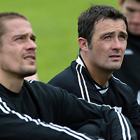 St Johnstone training...12.07.04<br />David Hannah and Paul Bernard (left) listen to John Connolly<br /><br />Picture by Graeme Hart.<br />Copyright Perthshire Picture Agency<br />Tel: 01738 623350  Mobile: 07990 594431