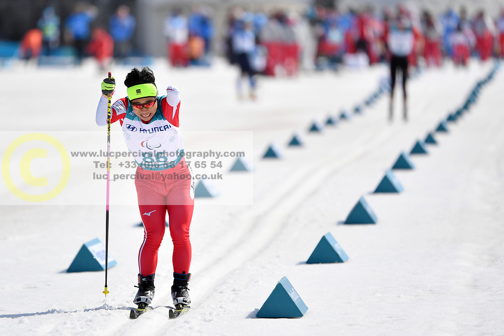 HOSHIZAWA Masaru JPN LW8 competing in the ParaSkiDeFond, Para Nordic Skiing, Sprint at  the PyeongChang2018 Winter Paralympic Games, South Korea.