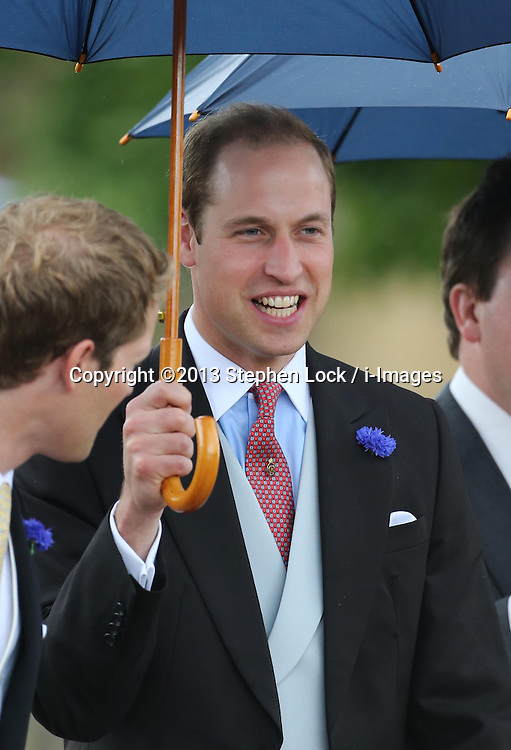Duke of Cambridge leaving the Lady Melissa Percy and Thomas van Straubenzee wedding at St.Michaels Church, Alnwick, Northumberland after their wedding ,Saturday, 22nd June 2013<br /> Picture by:  Stephen Lock / i-Images