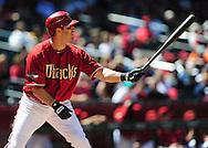 Apr. 10 2011; Phoenix, AZ, USA; Arizona Diamondbacks outfielder .Willie Bloomquist (18) stands at bat against the Cincinnati Reds at Chase Field. Mandatory Credit: Jennifer Stewart-US PRESSWIRE