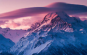 Windcloud over Aoraki / Mount Cook, winter sunset from Ben Ohau Range, Aoraki / Mount Cook National Park, Mackenzie country,