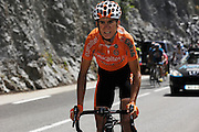 France, Sallanches, 22 July 2009: An unidentified Euskaltel - Euskadi riders ascends the Côte d'Araches during Stage 17 Bourg St Maurice to Le Grand Bornand. Photo by Peter Horrell / http://peterhorrell.com .