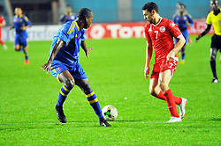 March 22, 2019 - Rades, Tunisia - Youssef Msakni(7) of Tunisia and Mamba Siboniso Ntokoso(5) during the Match Tunisia vs Eswatini at the Rades Olympic stadium in the last qualifying round of the 2019 African Nations Cup finals vs. Tun vs Eswatini 4/0. (Credit Image: © Chokri Mahjoub/ZUMA Wire)