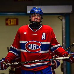 OAKVILLE, ON  - FEB 23,  2018: Ontario Junior Hockey League game between the Oakville Blades and the Toronto Jr. Canadiens, Chase Spencer #55 of the Toronto Jr. Canadiens gets set for the third period.<br /> (Photo by Ryan McCullough / OJHL Images)