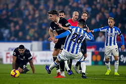 Tom Cairney of Fulham takes on Christopher Schindler of Huddersfield Town - Mandatory by-line: Robbie Stephenson/JMP - 05/11/2018 - FOOTBALL - John Smith's Stadium - Huddersfield, England - Huddersfield Town v Fulham - Premier League