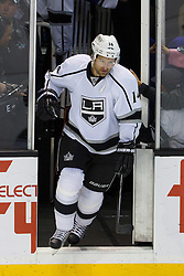 Dec 23, 2011; San Jose, CA, USA; Los Angeles Kings right wing Justin Williams (14) enters the ice before the game against the San Jose Sharks at HP Pavilion. San Jose defeated Los Angeles 2-1 in shootouts. Mandatory Credit: Jason O. Watson-US PRESSWIRE