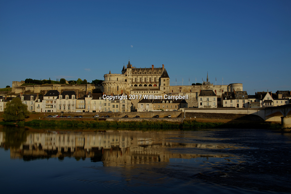 The Chateau d'Amboise along the Loire River in Amboise, Loire Valley, France.