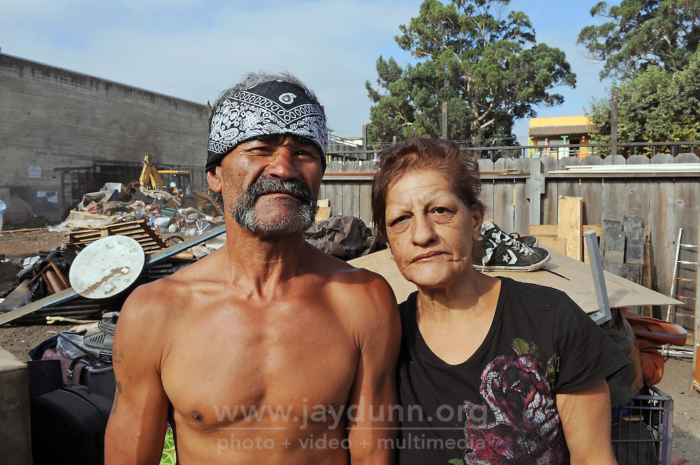 Homeless residents Alfredo Valdez, 57, and Leticia Bernal, 55, were displaced during Thursday's sweep of Chinatown by the city of Salinas.