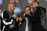MANCHESTER, ENGLAND, NOVEMBER 12, 2009: Randy Couture (left) and Brandon Vera face off during the pre-fight press conference for UFC 105 at the MEN Arena in Manchester, England on November 12, 2009.