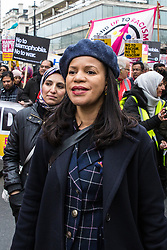 London, UK. 16th March, 2019. Claudia Webbe accompanies thousands of people marching through central London on the March Against Racism demonstration on UN Anti-Racism Day against a background of increasing far-right activism around the world and a terror attack yesterday on two mosques in New Zealand by a far-right extremist which left 49 people dead and another 48 injured.