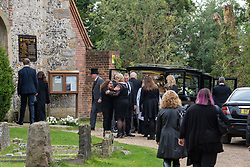 © Licensed to London News Pictures. 03/10/2019. High Wycombe, UK. Family arrive at St Lawrence's Church in High Wycombe for the funeral of Libby Squire. Libby Squire was a 21-year-old Hull University student and originally from High Wycombe she disappeared after a night out in Hull on February 1st, 2019. After extensive searches her body was found close to Spurn Point on March 20th, 2019. Photo credit: Peter Manning/LNP