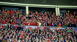 VIENNA, AUSTRIA - Thursday, October 6, 2016: Wales supporters sing the national anthem during the 2018 FIFA World Cup Qualifying Group D match against Austria at the Ernst-Happel-Stadion. (Pic by David Rawcliffe/Propaganda)