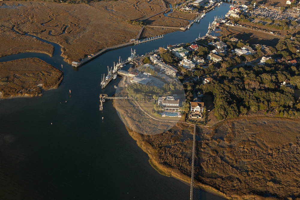Aerial view of Shem Creek homes and shrimp boats in Mt Pleasant, SC