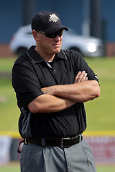 28 May 2017: Umpire Dave Ashcraft during a Frontier League Baseball game between the Lake Erie Crushers and the Normal CornBelters at Corn Crib Stadium on the campus of Heartland Community College in Normal Illinois