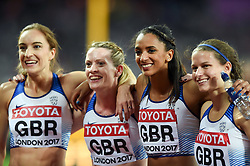 Emily Diamond, Eilidh Doyle, Laviai Nielsen and Zoey Clark of Great Britain celebrate their silver medal finish - Mandatory byline: Patrick Khachfe/JMP - 07966 386802 - 13/08/2017 - ATHLETICS - London Stadium - London, England - Women's 4x400m Metres Relay Final - IAAF World Championships