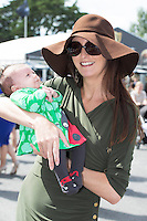 03/08/2014 Roisin Fadden and her 5 week old daughter Ciara   at the Final day of the Galway Racing Summer Festival. Photo:Andrew Downes