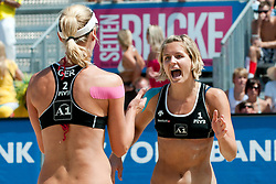 Sara Goller and Laura Ludwig of Germany at A1 Beach Volleyball Grand Slam tournament of Swatch FIVB World Tour 2010, for bronze medal, on July 31, 2010 in Klagenfurt, Austria. (Photo by Matic Klansek Velej / Sportida)