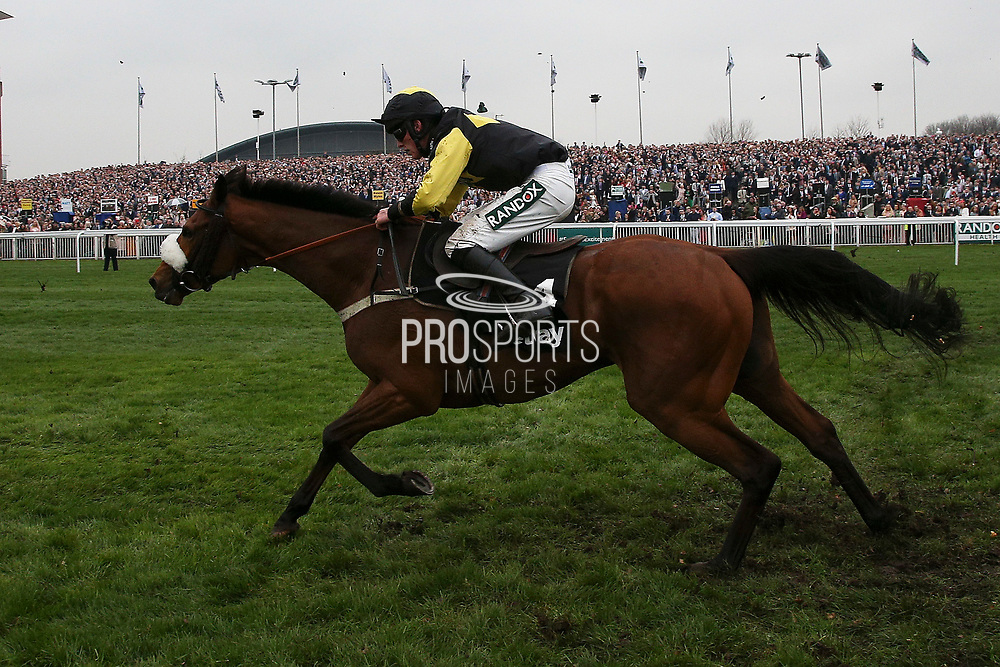 Third place Elegant Escape with Harry Cobden on board stretches away from the last jump in the The Betway Mildmay Novices' Steeple Chase on Ladies Day at Aintree, Liverpool, United Kingdom on 13 April 2018. at Aintree, Liverpool, United Kingdom on 13 April 2018. Picture by Craig Galloway.
