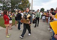 September 12, 2009: The Cy-Hawk trophy arrives before the game between the Iowa Hawkeyes and the Iowa State Cyclons at Jack Trice Stadium in Ames, Iowa on September 12, 2009.