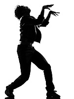 full length silhouette of a young man dancer dancing funky hip hop r&b zombie walk on  isolated  studio white background