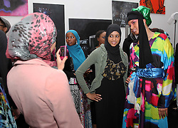 Models pose for photographs at the launch of the Underwraps Muslim model agency in New York , Saturday 11th February 2012.  Photo by: Stephen Lock / i-Images.  Words and quotes for this event can be supplied by Gemma Champ: +44 7974 211258. Email:gemmachamp@yahoo.co.uk