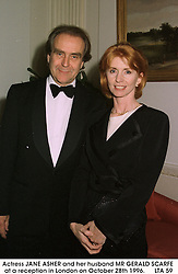 Actress JANE ASHER and her husband MR GERALD SCARFE at a reception in London on October 28th 1996.     LTA 59