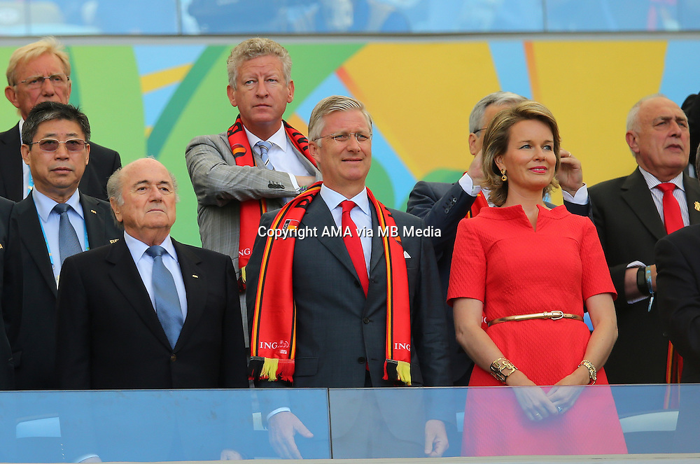 FIFA president Joseph Blatter with King Philippe of Belgium and Queen Mathilde of Belgium