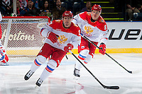 KELOWNA, CANADA - NOVEMBER 9: Artur Lauta #23 and Andrey Svetlakov # 8 of Team Russia skate against the Team WHL on November 9, 2015 during game 1 of the Canada Russia Super Series at Prospera Place in Kelowna, British Columbia, Canada.  (Photo by Marissa Baecker/Western Hockey League)  *** Local Caption *** Andrey Svetlakov; Artur Lauta;