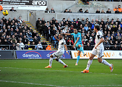 Tottenham Hotspur's Nacer Chadli volleys narrowly over - Photo mandatory by-line: Joe Meredith/JMP - Tel: Mobile: 07966 386802 19/01/2014 - SPORT - FOOTBALL - Liberty Stadium - Swansea - Swansea City v Tottenham Hotspur - Barclays Premier League