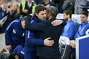 Tottenham's Manager Mauricio Pochettino greets Brighton and Hove Albion manager Chris Hughton during the Premier League match between Brighton and Hove Albion and Tottenham Hotspur at the American Express Community Stadium, Brighton and Hove, England on 17 April 2018. Picture by Phil Duncan.