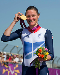 Sarah Story Paralympics Cyclist  with her gold Medal at Brands Hatch, during the London 2012, Paralympics, Wednesday September 5, 2012. Photo By i-Images..This image can only be used for editorial use.