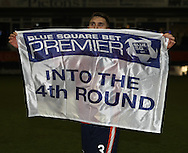 Picture by David Horn/Focus Images Ltd +44 7545 970036.05/01/2013.Greg Taylor of Luton Town celebrating after the The FA Cup match at Kenilworth Road, Luton.