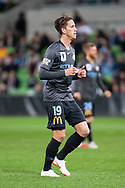 Melbourne City midfielder Lachlan Wales (19) jogs back into position at the FFA Cup quarter-final soccer match between Melbourne City FC and Western Sydney Wanderers FC at AAMI Park in Melbourne.