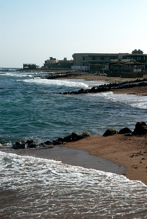 Egypt, Dahab. December/08/2008...A series of small hotels and hostels line the Dahab beachfront. ..