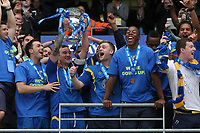 Football - Blue Sq Bet Premier play off final - AFC Wimbledon vs. Luton Town<br /> Wimbledon celebrate victory with the trophy at the CIty of Manchester Stadium