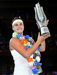 WUHAN, Sept. 29, 2018  Aryna Sabalenka of Belarus poses during the trophy ceremony after winning the singles final match against Anett Kontaveit of Estonia at the 2018 WTA Wuhan Open tennis tournament in Wuhan, central China's Hubei Province, on Sept. 29, 2018. Aryna Sabalenka won 2-0 and claimed the title. (Credit Image: © Xiao Yijiu/Xinhua via ZUMA Wire)