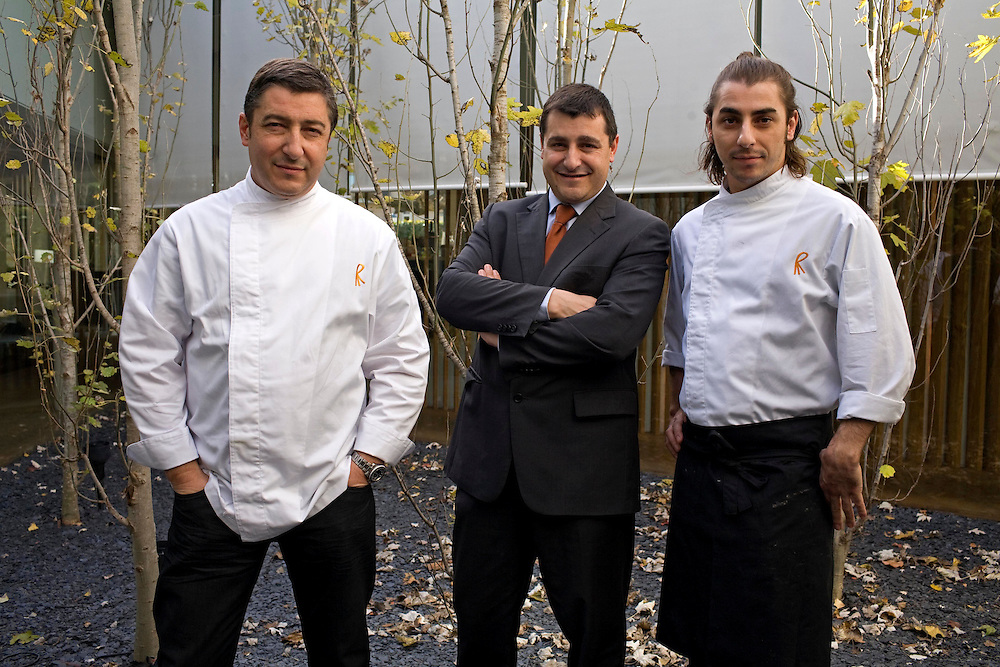 The best Catalan cooks of the guide Michelin. The brothers Roca (from left to right) Joan, Josep and Jordi owners of the restaurant El Celler de Can Roca wich has high prestige by their stars in the guide Michelin. The image is taken at their new restaurant la Torre de Can Roca.