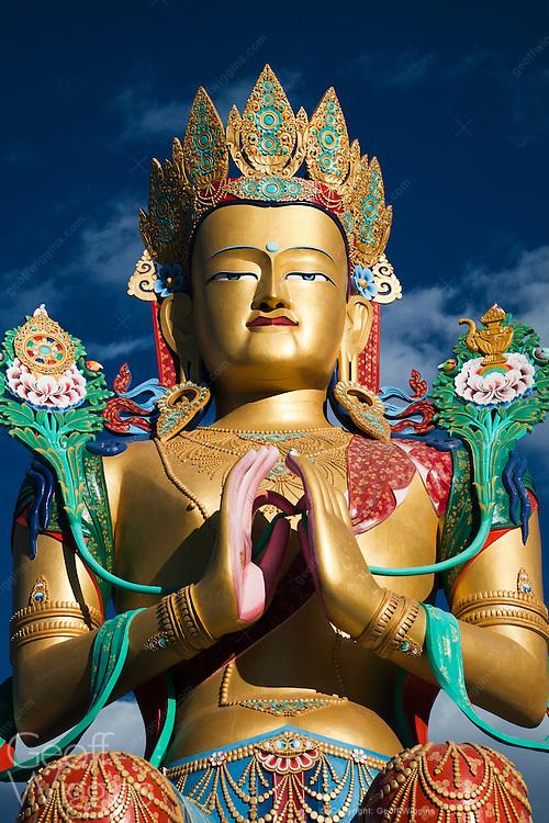 35 meter high statue ofMaitreya Buddha overlooking the Nubra valley at Diskit Monastery, Ladakh, India