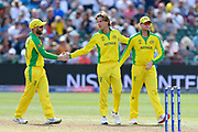 Wicket - Adam Zampa of Australia celebrates taking the wicket of Rashid Khan (vc) of Afghanistan during the ICC Cricket World Cup 2019 match between Afghanistan and Australia at the Bristol County Ground, Bristol, United Kingdom on 1 June 2019.
